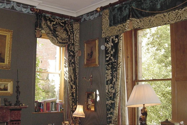 An image showing some black and gold curtains we made for a client