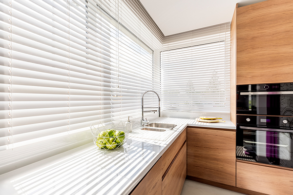 An image of some modern blinds in a kitchen